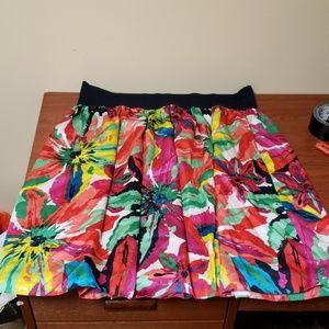 Rafaella 3x Floral Print Skirt with Elastic Waist